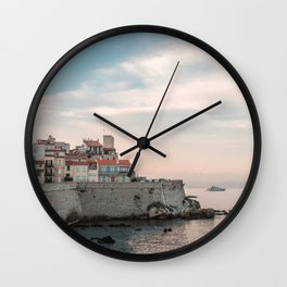 French Riviera Coast | Europe France Antibes City Sunset Landscape Photography Wall Clock