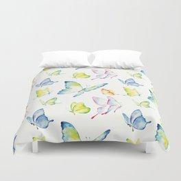 colorful watercolor butterflies Duvet Cover