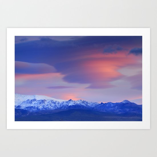 Lenticular clouds over Sierra Nevada National Park Art Print