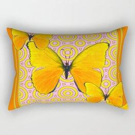 Butterscotch Golden Butterflies Yellow Abstract Rectangular Pillow