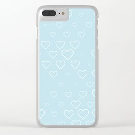 white hears with blue background Clear iPhone Case