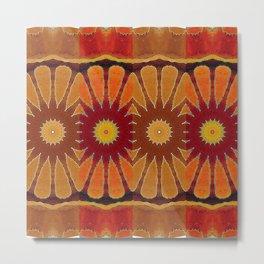 Orange flower pattern daisy Metal Print