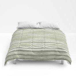 Simply Shibori Stripes Green Tea and Lunar Gray Comforters