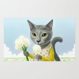 A cat sitting in the flower garden Rug
