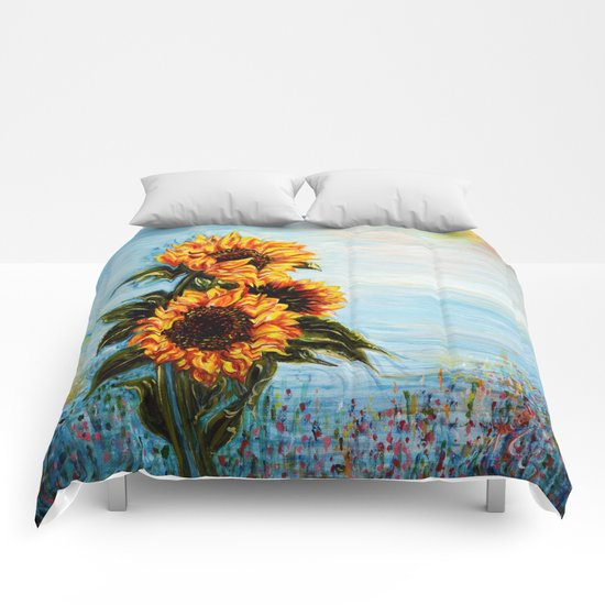 Sunflowers! Where Ocean meets Sky Comforters