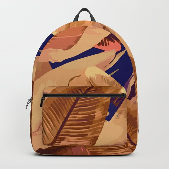 Banana Leaves Orange and Purple Backpack
