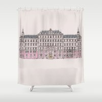 the grand budapest hotel Shower Curtains featuring Grand Budapest by Imogan T