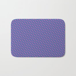 Pink stars on a blue background Bath Mat