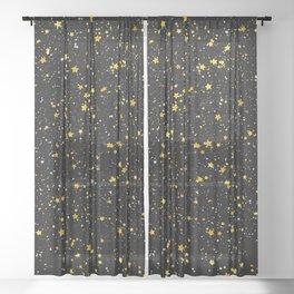 Glitter Stars3 - Gold Black Sheer Curtain