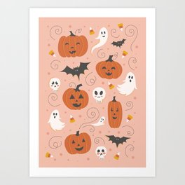 Pumpkin Party on Blush Pink Art Print