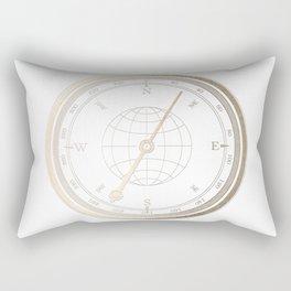 Gold Compass on White Rectangular Pillow