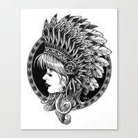 headdress Canvas Prints featuring Headdress by BIOWORKZ