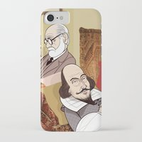 freud iPhone & iPod Cases featuring Freud analysing Shakespeare by drawgood