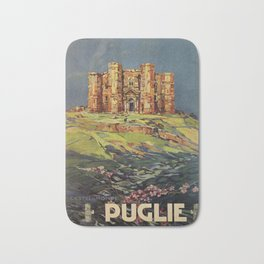 Apulia Castle del Monte vintage Italian travel ad Bath Mat