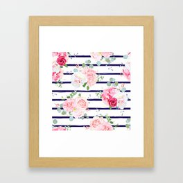 Pink Floral & Navy Stripes Framed Art Print