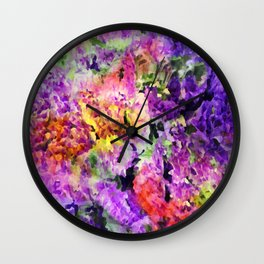 Elegant Rainbow Floral Abstract Wall Clock