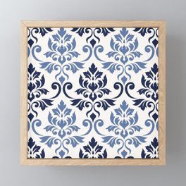 Feuille Damask Pattern Blues on Cream Framed Mini Art Print