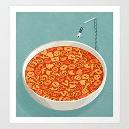 Social media soup, conceptual illustration Art Print