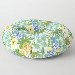 Tropical Blue and Yellow Floral, Light Floor Pillow