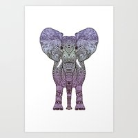 ornate elephant Art Prints featuring ELEPHANt by Monika Strigel