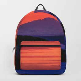 Sunset in winter with red sky Backpack