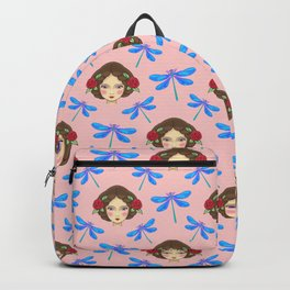 Pretty blue dragonflies, beautiful dolls. Feminine folk artistic gorgeous lovely peach color pattern Backpack