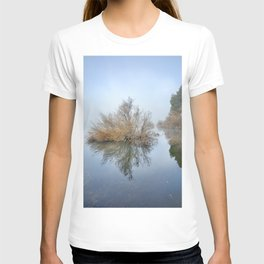 """Foggy Morning At The Lake"". Magic sunrise T-shirt"