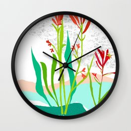 Kangaroo Paw Botanical Illustration Wall Clock