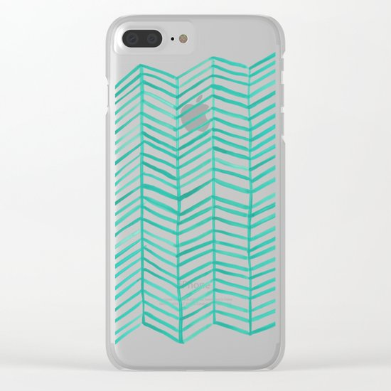 Mint Herringbone Clear iPhone Case
