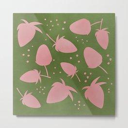 Strawberry Watercolor Pattern Metal Print