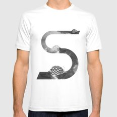 Racing MEDIUM White Mens Fitted Tee
