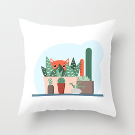 Cat and succulents No1 Throw Pillow