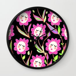Psychedelic Ladyflowers Wall Clock