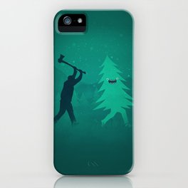 Funny Christmas Tree Hunted by lumberjack (Funny Humor) iPhone Case