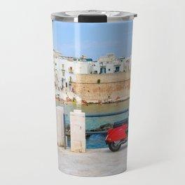 Red Vespa in Monopoli, Puglia, Italy Travel Mug