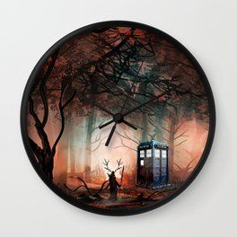 TARDIS IN THE FOREST Wall Clock