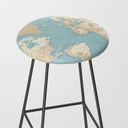 "Cream, brown and muted teal world map, ""Jett"" Bar Stool"
