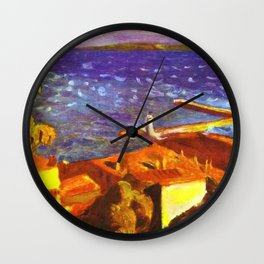 Saint Tropez, French Riviera, Côte d'Azur, France coastal landscape by Pierre Bonnard Wall Clock