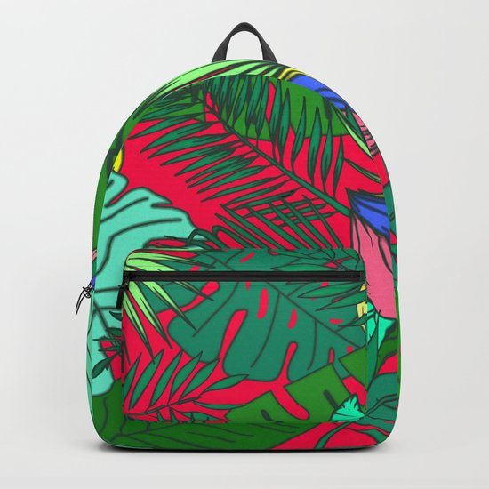 TROPICAL GARDEN (abstract collage) Backpack