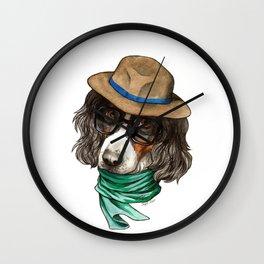 Hipster Spaniel Wall Clock