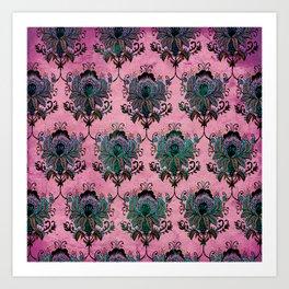 Pink Lotus Damask Art Print