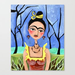 Frida in the Woods Canvas Print