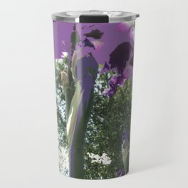 Giant Iris Stalks, purple green white, modified Travel Mug