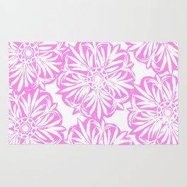 Hand Carved Starburst Pink Rug