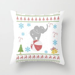 Circus Elephant Carnival Christmas Ugly Shirt Throw Pillow