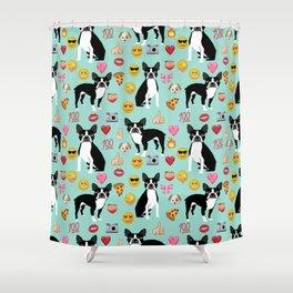 boston terrier emoji funny dog gifts emojis Shower Curtain
