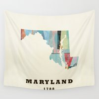 maryland Wall Tapestries featuring Maryland state map modern by bri.buckley