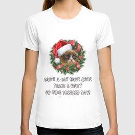 Christmas annoyed Cat meowy Christmas Eve Santa Claus December family joyful Jesus holly gift present yule jingle bells reindeer naughty nice T-shirt
