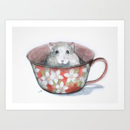 Rat in a cup Art Print