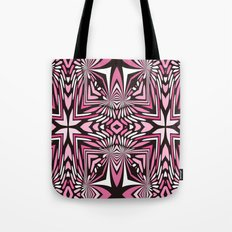 Pink Black and WHite Abstract Tote Bag